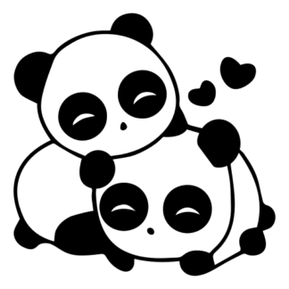 Cute Panda Couple In Love Decal (Black)