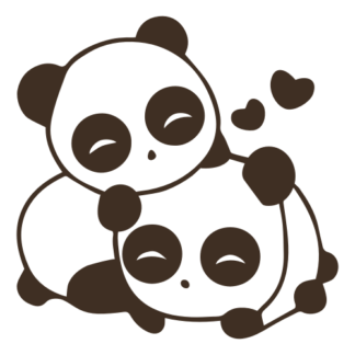 Cute Panda Couple In Love Decal (Brown)