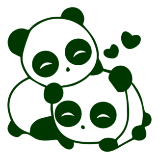 Cute Panda Couple In Love Decal (Dark Green)