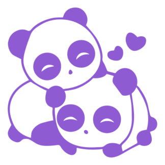 Cute Panda Couple In Love Decal (Lavender)