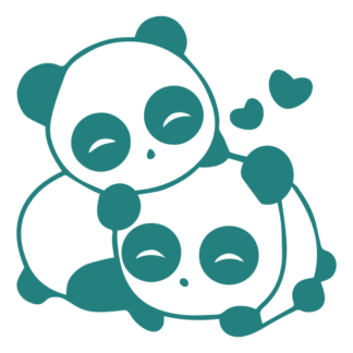 Cute Panda Couple In Love Decal (Turquoise)