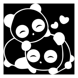 Cute Panda Couple In Love Decal (White)