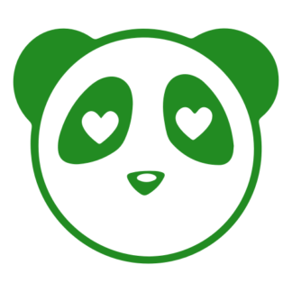 Heart Eyes Panda Decal (Green)