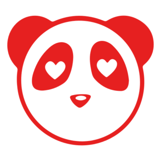Heart Eyes Panda Decal (Red)