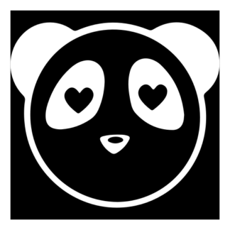 Heart Eyes Panda Decal (White)
