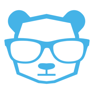 Intellectual Panda Wearing Glasses Decal (Baby Blue)