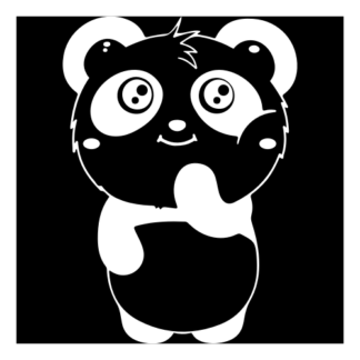 Shy Panda Decal (White)