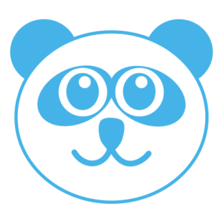 Smiling Panda Decal (Baby Blue)