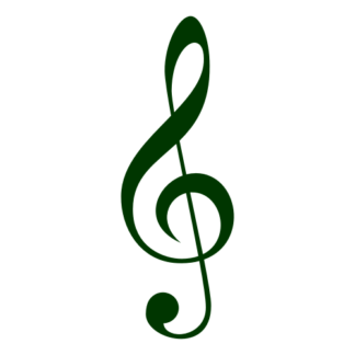 Treble Clef Decal (Dark Green)