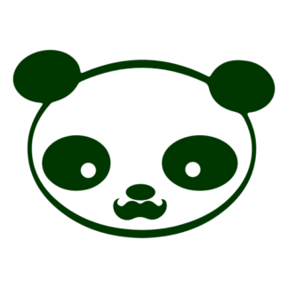 Young Panda Funny Moustache Decal (Dark Green)