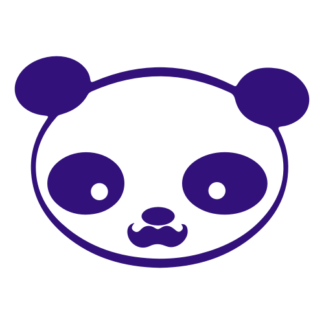 Young Panda Funny Moustache Decal (Purple)