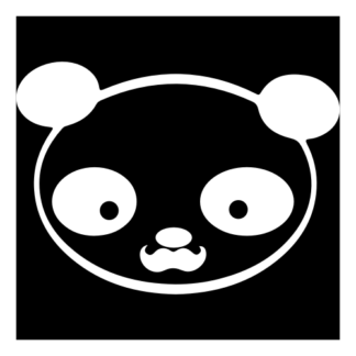 Young Panda Funny Moustache Decal (White)