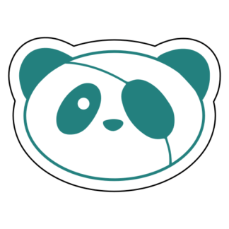 Covered Eye Panda Sticker (Turquoise)
