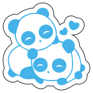 Cute Panda Couple In Love Sticker (Baby Blue)
