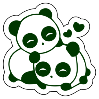 Cute Panda Couple In Love Sticker (Dark Green)