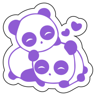 Cute Panda Couple In Love Sticker (Lavender)