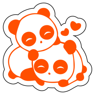 Cute Panda Couple In Love Sticker (Orange)