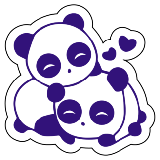 Cute Panda Couple In Love Sticker (Purple)