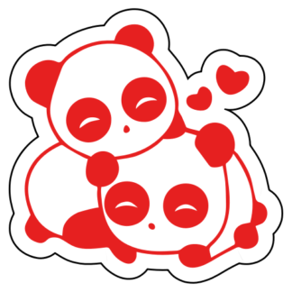 Cute Panda Couple In Love Sticker (Red)