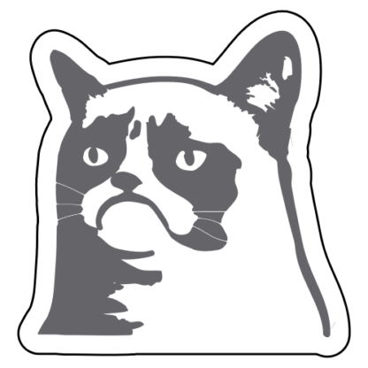 Grumpy Cat 2 Sticker (Grey)