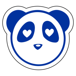 Heart Eyes Panda Sticker (Blue)