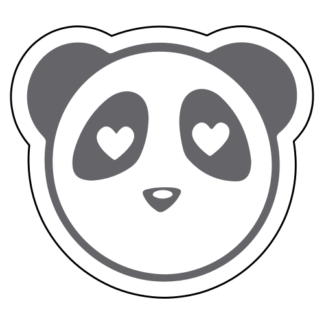 Heart Eyes Panda Sticker (Grey)