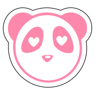 Heart Eyes Panda Sticker (Pink)