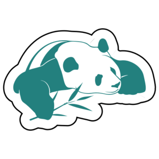 Panda And His Bamboo Sticker (Turquoise)