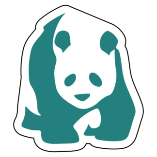 Realistic Giant Panda Sticker (Turquoise)
