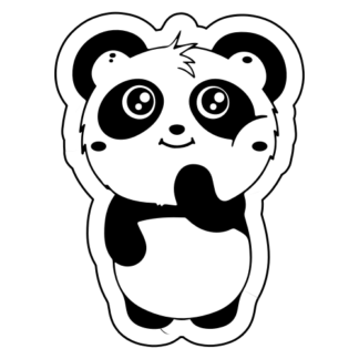 Shy Panda Sticker (Black)