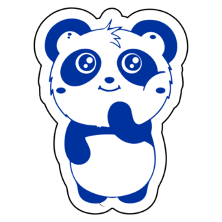 Shy Panda Sticker (Blue)