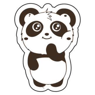 Shy Panda Sticker (Brown)