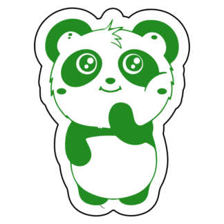Shy Panda Sticker (Green)