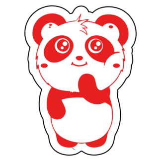 Shy Panda Sticker (Red)