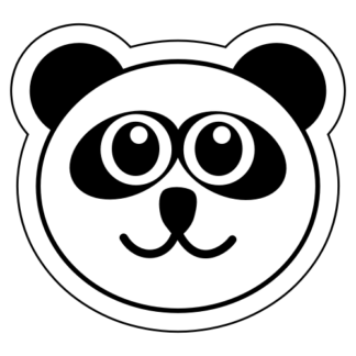 Smiling Panda Sticker (Black)