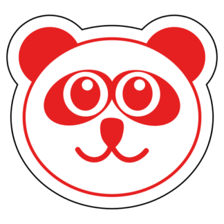 Smiling Panda Sticker (Red)