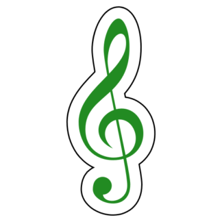 Treble Clef Sticker (Green)