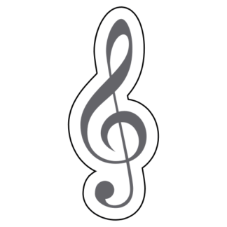 Treble Clef Sticker (Grey)
