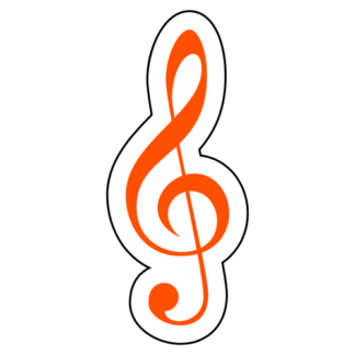 Treble Clef Sticker (Orange)