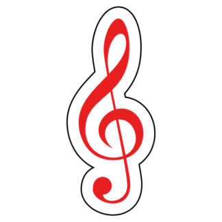 Treble Clef Sticker (Red)
