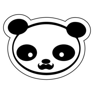 Young Panda Funny Moustache Sticker (Black)