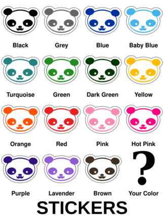 Young Panda Funny Moustache Stickers