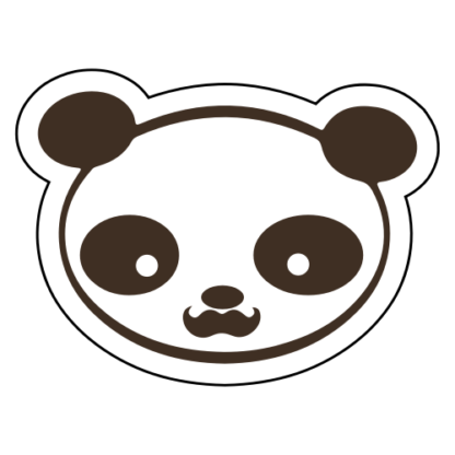 Young Panda Funny Moustache Sticker